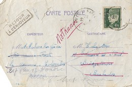Entier Postal 1.20F Iris Pour La BARBADE Avec Timbre Pétain à 4.50F - Postmark Collection (Covers)