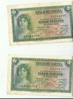 BILLET BON ETAT 5...CINCO PESETAS MADRID 1935 - [ 2] 1931-1936 : Repubblica