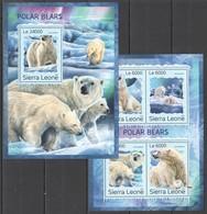 ST325 2016 SIERRA LEONE FAUNA MARINE LIFE ANIMALS POLAR BEARS KB+BL MNH - Bears