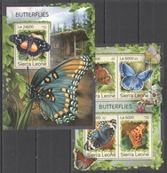 ST333 2016 SIERRA LEONE FAUNA INSECTS BUTTERFLIES KB+BL MNH - Schmetterlinge