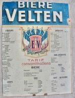 CARTON BIERE VELTEN ( BIERES BRASSERIE LYON ) TARIF CONSOMMATIONS - Pappschilder