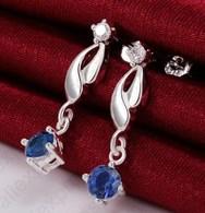 A60120 - Orecchini Pendenti In 925 Sterling - Zirconi Blu - Earrings