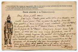 RC 14963 FRANCE WWI 14 / 18 DESSIN D'UN SOLDAT ALLEMAND SUR CARTE DE FRANCHISE MILITAIRE ADRESSÉE A DES ENFANTS - Poststempel (Briefe)