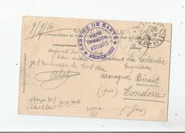 ETAMPES (91) CACHET MILITAIRE SERVICE DE SANTE CENTRE CHIRURGICAL D'ETAMPES 1916 - Poststempel (Briefe)