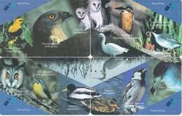 PUZZLE DE 4 TARJETAS DE MALTA DE PAJAROS (BIRD-PAJARO-OWL-CHOUETTE-BUHO) - Malta