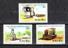 Nauru   - 1980.  Estrazione Dei Fosfati. Vecchi Locomotori.  Phosphate Extraction. Old Locomotives. Complete MNH Series - Fabbriche E Imprese