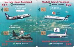 PUZZLE DE 4 TARJETAS DE NORFOLK ISLAND DE AVIONES (AVION-PLANE) (NUEVAS-MINT) - Norfolk Island