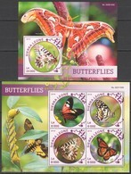 ST449 2016 SIERRA LEONE FAUNA INSECTS BUTTERFLIES 1KB+1BL MNH - Schmetterlinge