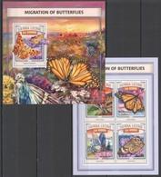 ST483 2016 SIERRA LEONE FLORA MIGRATION OF BUTTERFLIES KB+BL MNH - Schmetterlinge