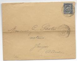 1896 - FACTEUR BOITIER De PRADES SION DE LA GARE (ARDECHE) Sur SAGE / ENVELOPPE => JAUJAC - 1877-1920: Periodo Semi Moderno