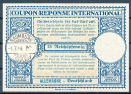 NAUMBURG -   -1.7.44  ,  Lo14  ,  25 Reichspfennig  -  Reply Coupon Reponse , Antwortschein - Alemania