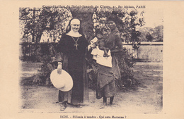 CPA INDE - Filleule à Vendre - Qui Sera Marraine ? Bébé - Soeur Catholique En Mission - Vente D'enfant - Inde