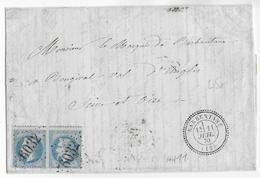1870 - LETTRE De BARBENTANE (BOUCHES DU RHONE) Avec T24 SUPERBE + GC 6032 Sur DOUBLE PORT  => BOUGIVAL - Marcophilie (Lettres)