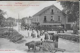 SAINT SULPICE ( Le Tarn ) : Avenue De Lavaur , Le Grand  Rond  - Promeneurs , Attelages Et Café Du Parc (1917 ) - Saint Sulpice