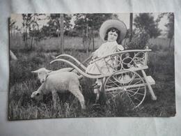 CPA PHOTO ATTELAGE D'AGNEAUX ET ENFANT 1907 - Fotografía