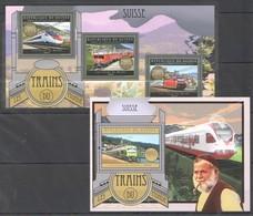 BC011 2012 DE GUINEE GUINEA TRANSPORTATION LES TRAINS DU MONDE SUISSE SWITZERLAND 1KB+1BL MNH - Trains