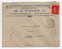 - Lettre CHAPELLERIE-LIBRAIRIE J. VAYRE, DECAZEVILLE (Aveyron) Pour MURAT (Cantal) 12.1.1929 - TIMBRE PERFORÉ M.D.G. - - France