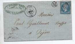 1864 - LETTRE De RULLY (BOITRE RURALE M) Avec TYPE 15 De CHAGNY (SAONE ET LOIRE) & GC 830 - 1849-1876: Classic Period