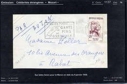 MAURY N° 1137: MOZART CELEBRITES - S/LETTRE AVION POUR LE MAROC DU 9/1/1958 - TARIF SPECIAL AFN - Marcophilie (Lettres)