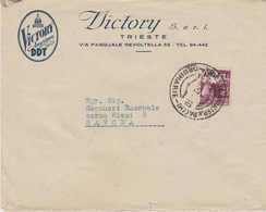 "A/5 - STORIA POSTALE - PUBBLICITARIA - ""VICTORY AMERICAN DDT"" - TRIESTE AMG-FTT - 1 VALORE Lire 20 - 7. Trieste"