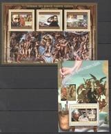 BC056 2012 DE GUINEE GUINEA ART TABLEAUX GRANDS MAITRES ITALIENS MICHEL-ANGE 1KB+1BL MNH - Kunst