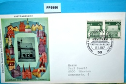 FF5950 FDC Dt. Bauwerke 12 Jahrhunderten, Torhalle Kloster Lorsch, DE 1967 - [7] République Fédérale