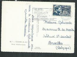 Timbre L'aluminium Sainte Claire Deville 18F Seul Sur Carte Postale De Cannes Pour Bruxelles (Belgique) - Marcofilia (sobres)