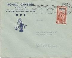 "A/5 - STORIA POSTALE - PUBBLICITARIA - ""LIBERTY DDT"" - TRIESTE AMG-FTT - 1 VALORE Lire 25 - 7. Trieste"