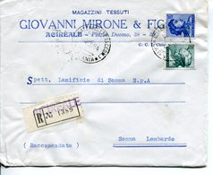 Italia (1964) - Raccomandata Doppio Porto Da Acireale - 1961-70: Storia Postale