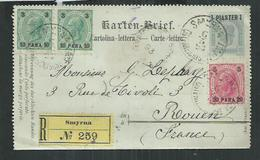 Entier Postal Recommandé De Smyrne Pour Rouen. Registered Postal Stationery; Karten Brief; - Eastern Austria