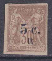 Réunion N° 7 (.) Timbres Des Colonies Françaises Surcharghés : 5 C. Sur 30 C. Neuf Sans Gomme Sinon TB - Réunion (1852-1975)