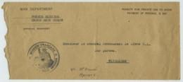 Guerre De 1914-18 . Allemagne Occupée . Cachet Mission Française Corps D'Armée Américain / Enveloppe Pour Wiesbaden . - Marcofilie (Brieven)