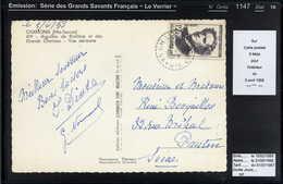 MAURY N° 1147: LE VERRIER - SAVANTS - S/CPI 5 MOTS DU 3/4/1958 - Poststempel (Briefe)
