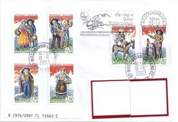 LOT 338  YT2976/2981  S/L FRANCE OBL FLAMME NIEDERBRONN LES BAINS  18/6/03 - Storia Postale