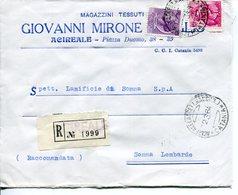Italia (1964) - Raccomandata Da Acireale - 1961-70: Storia Postale