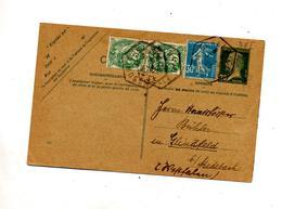 Carte Postale 20c Pasteur + Semeuse Blanc Cachet Rural - Biglietto Postale