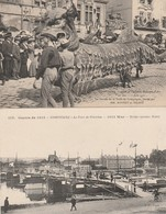 2 CPA:COMPIÈGNE (60) CHAR MM.BONNET ET BILANT CUIVRE DE LA FORÊT,PONT DE PÉNICHES 1914 WAR BRIDGE (PINNACE BOATS) - Compiegne