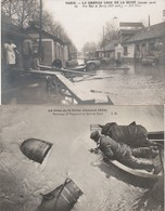 2 CPA:CRUE DE LA SEINE JANVIER 1910 SAUVETAGE TONNEAUX QUAI DE BERCY,GRANDE CRUE DE LA SEINE TONNEAUX SUR EAU PARIS (75) - La Crecida Del Sena De 1910