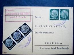 Rares Timbres Sur Carte........allemagne Pour La Belgique....5 Timbres.....1938 - Collections