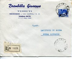 Italia (1964) -  115 Lire Michelangiolesca Su Raccomandata Da Seregno (MI) - 6. 1946-.. Repubblica