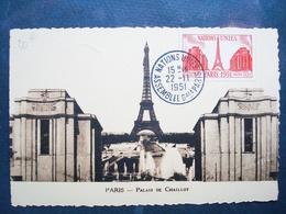 Rare Timbre Sur Carte.......france..75 ,paris ,timbre Tour Eiffel...nations Unies....1951 - Marcophilie (Lettres)