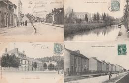 4 CPA:ROMILLY SUR SEINE (10) CITÉS CLAVERIE,MOULIN,RUE H.MILLET,LES ÉCOLES..ÉCRITES - Romilly-sur-Seine
