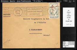 MAURY N° 1163: TIR A L'ARC - TRADITION -S/FACTURE DU 25/7/1958 - Poststempel (Briefe)