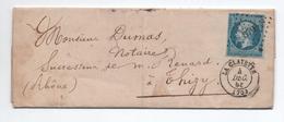 1858 - LETTRE Avec TYPE 15 De LA CLAYETTE (SAONE ET LOIRE) & PC 879 - Marcophilie (Lettres)