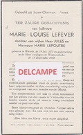 DOODSPRENTJE LEFEVER MARIE-LOUISE DOCHTER VAN JULES EN LEPOUTRE WERVIK WESTROZEBEKE 1873 - 1954   Bewerkt Tegen Kopieren - Devotion Images