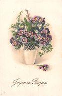 Joyeuse Pâques - Fleurs - Pot - Ecriture Gaufrée Et Dorée - Pensées - Flores