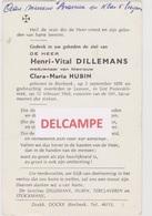 DOODSPRENTJE DILLEMANS HENRI WEDUWNAAR HUBIN BIERBEEK LEUVEN 1898 - 1968  Bewerkt Tegen Kopieren - Santini