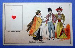 CHROMO COURBE-ROUZET..... CHICORÉE LA MAGICIENNE..NORD...CARTE A JOUER...AS DE CŒUR...BONHEUR EN MÉNAGE..NURSE ..BÉBÉ - Trade Cards