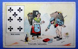 CHROMO COURBE-ROUZET..... CHICORÉE LA MAGICIENNE..NORD...CARTE A JOUER...TRÈFLE..BONNE AUBAINE..TROUVAILLE D'ARGENT - Trade Cards
