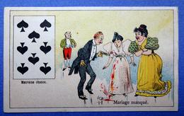 CHROMO COURBE-ROUZET..... CHICORÉE LA MAGICIENNE..NORD...CARTE A JOUER...PIQUE...MARIAGE MANQUE..VERRES BRISES - Trade Cards